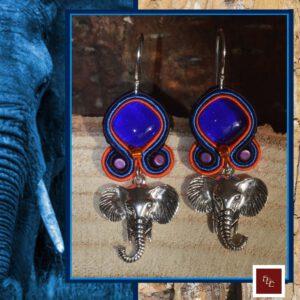 Handgemaakte oorbellen ' Elephant Blues '